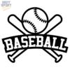Baseball Bats & Ball with Text Decal Sticker