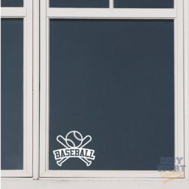 Baseball Bats & Ball with Text Decal Sticker for Any Window or Flat Surface
