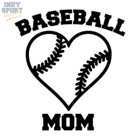 Baseball Mom with Heart Decal Sticker