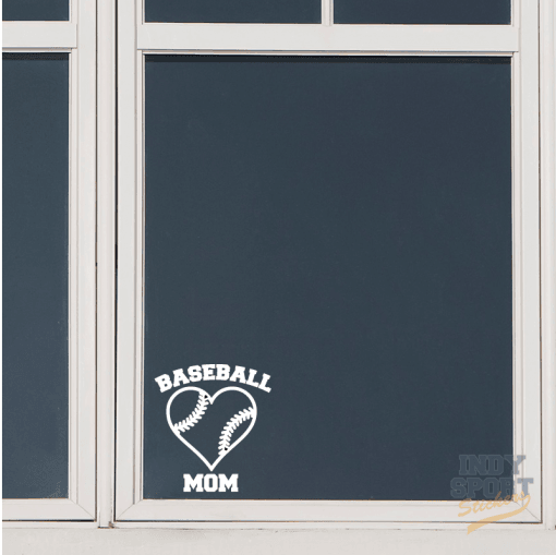 Baseball Mom with Heart Decal Sticker for Any Window or Flat Surface