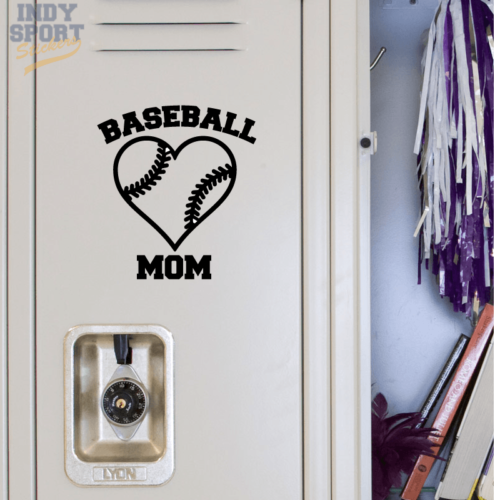 Baseball Mom with Heart Decal Sticker for School Locker