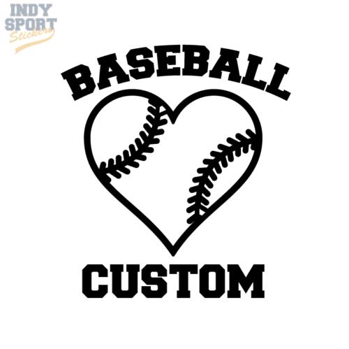 Baseball Mom with Heart Decal Sticker Choose Custom Text