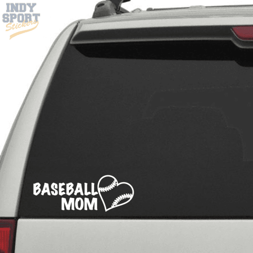 Baseball Mom with Heart Decal Sticker for Car or Truck Window