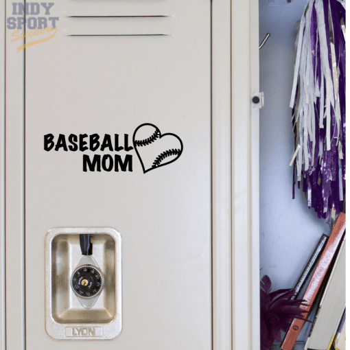 Baseball Mom with Heart Decal Sticker for School Locker