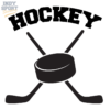 Hockey Puck with Crossed Sticks Decal or Sticker Design
