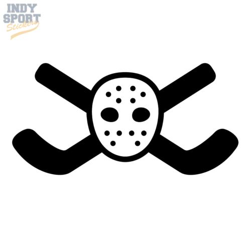 Hockey Sticks Crossed with Goalie Mask Decal or Sticker Design