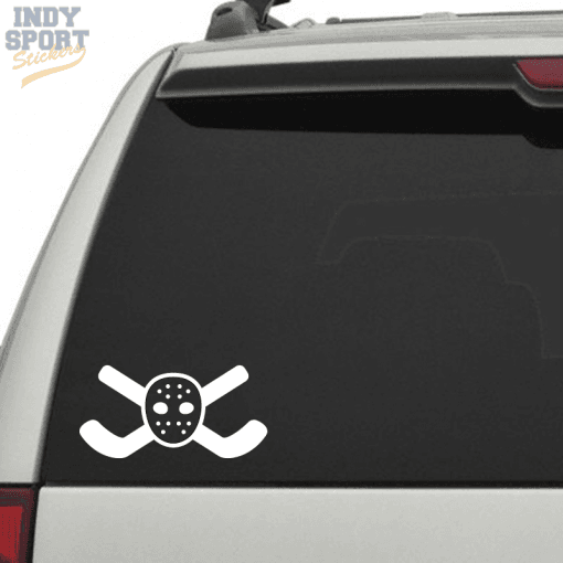 Hockey Sticks Crossed with Goalie Mask Decal or Sticker for Car or Truck Window