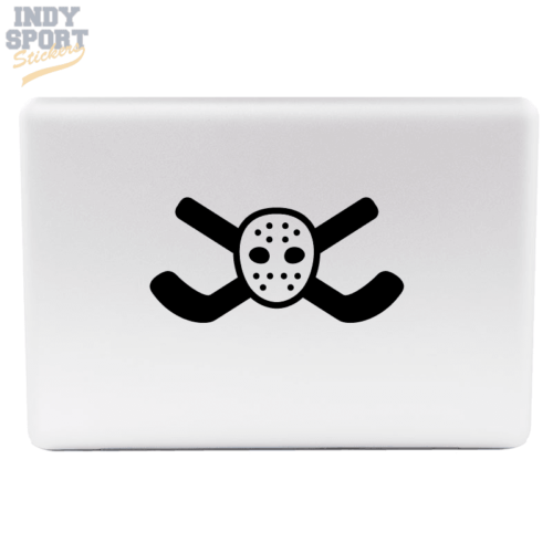 Hockey Sticks Crossed with Goalie Mask Decal or Sticker for Laptop or other Electronic Devices