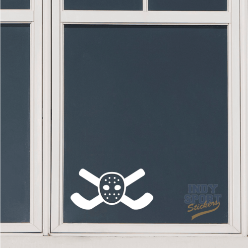 Hockey Sticks Crossed with Goalie Mask Decal or Sticker for any Window or other Flat Surface