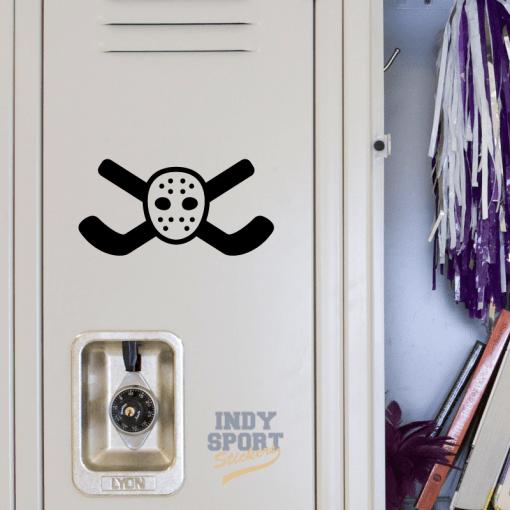 Hockey Sticks Crossed with Goalie Mask Decal or Sticker for School Locker