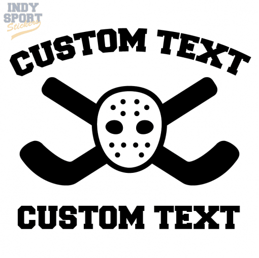 Hockey Sticks Crossed with Goalie Mask Decal or Sticker with your customized text